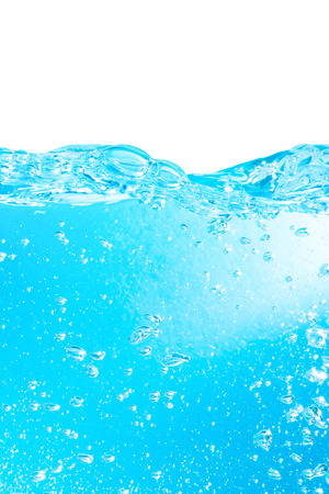 Fresh blue water background with bubbles over white  Stock Photo