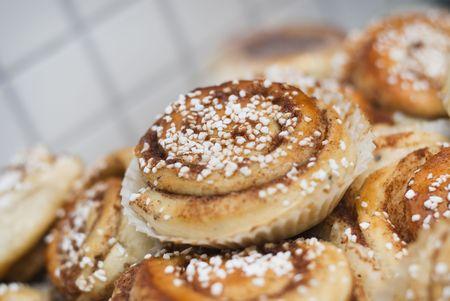 A bunch of newly-baked cinnamon buns