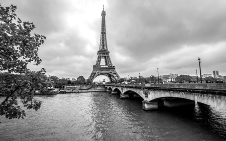 Paris Eiffel Tower from Seine. Cityscape in black and white Stockfoto