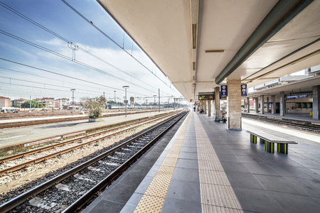 desert train station platform in the morning Stock Photo