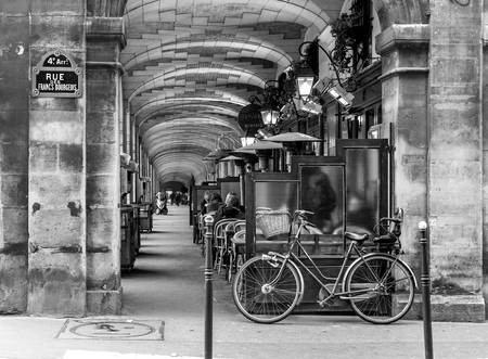 street cafe: urban street view in Paris. Bistro cafe parisian with Black and white effect