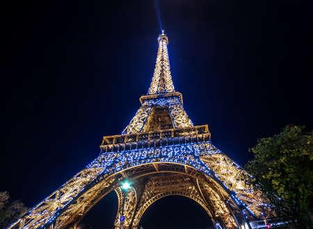 light show: Paris, France - November 19, 2014: Eiffel Tower Night light show
