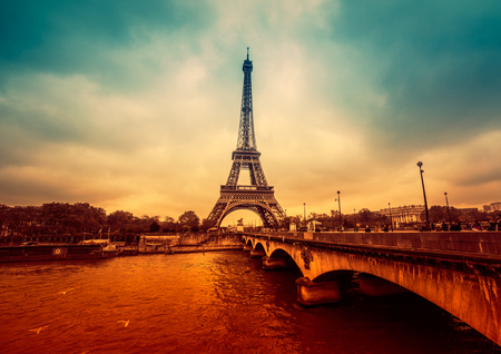 filtered: Paris cityscape, intense and dramatic colors. Filtered image Stock Photo