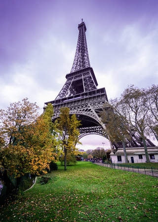 romantic: Paris Eiffel Tower, romantic purple sky