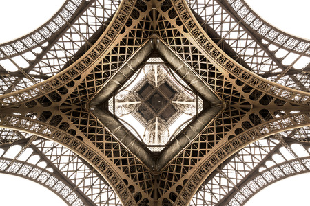 Eiffel Tower architecture detail, bottom view. unique angle