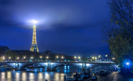 paris night: Paris night lights cityscape with Eiffel Tower in background