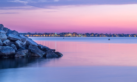 morning blue hour: sunset landscape over sea. Rimini at dusk