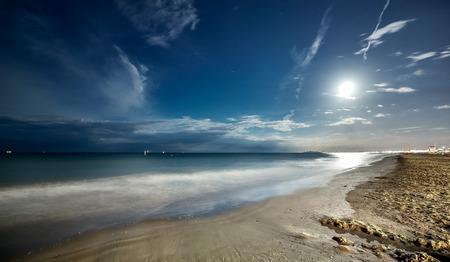 sunset beach: Night sea beach with full moon