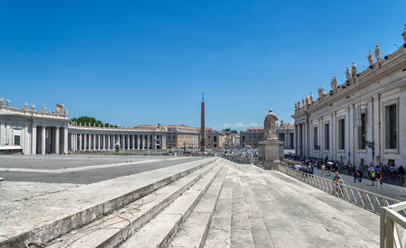 VATICAN CITY - JULY 1, 2016: St. Peters square is one of the largest plaza located directly in front of St. Peters Basilica in the Vatican City, the papal enclave inside Rome