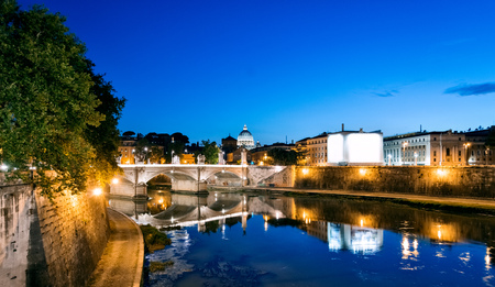 tevere: Rome Night view after sunset. Saint Peter dome in background