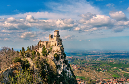San Marino republic, Italy. Rocca della Guaita, medieval castle on Titano mount Stock Photo