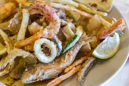 vis bak dicht omhoog. Seafood. Italiaans gastronomisch eten Stockfoto