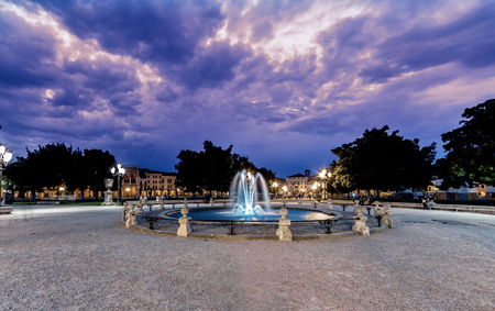 Padova sunset blue purple  over ancient Prato della Valle Square. One of most big europe square