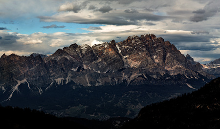 sunset mountains landscape panoramic view. Dolomites peak. Italy Stockfoto