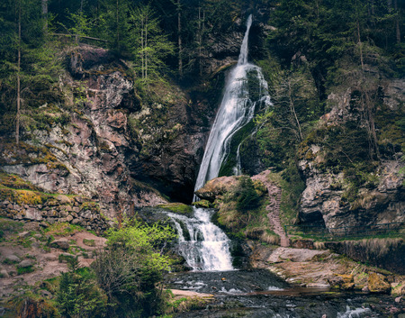 small mountain waterfalls inside forest. Scenery landscape Stockfoto