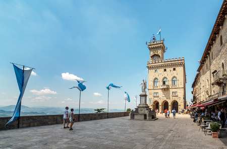 SAN MARINO. SAN MARINO REPUBLIC - JULY 17. Liberty Square, in front of the Government Palace in San Marino July 17, 2014.