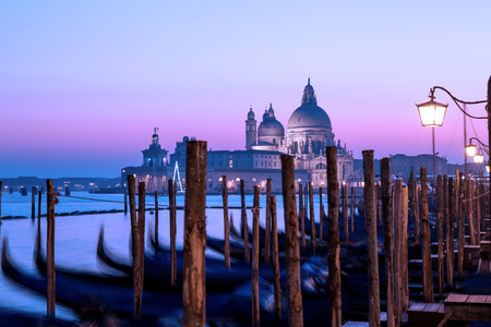 Venice sunset panorama. Twilight seascape, romantic purple sky