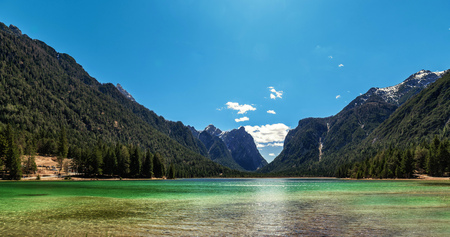Mountain lake panorama landscape. Dolomites Italy