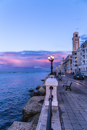 Bari seafront city view at sunset. Coastline Imagens