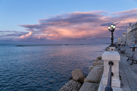 Bari seafront at sunset. intense colors, blue sky, landscape. Romantic scenic