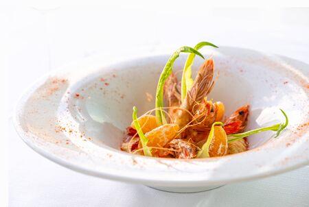 shrimps with  tangerine and vegatables. Italian Gourmet restaurant food. Healthy food