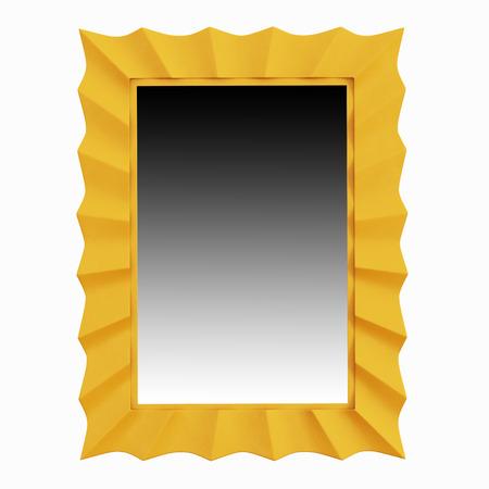 yelow: Mirror in frame yelow on white backgraund Stock Photo