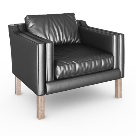sofa furniture: Armchair black leather on white backgraund