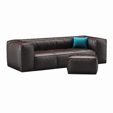 white sofa: Sofa brown leather on white backgraund Stock Photo