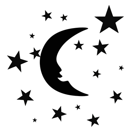 stars symbols: New moon in the sky with stars