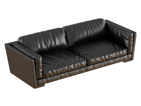 Black leather sofa with folds 3d rendering 免版税图像