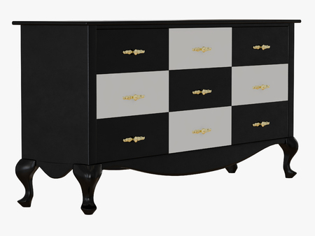 Chest of drawers with black and white 3d rendering Zdjęcie Seryjne