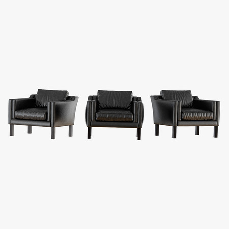 Three black leather chairs frontal view 3d rendering