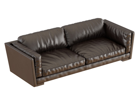 Brown leather sofa with folds 3d rendering