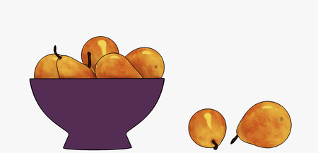 Pears in a dark violet vase on a white background 3d rendering Banque d'images - 116529733