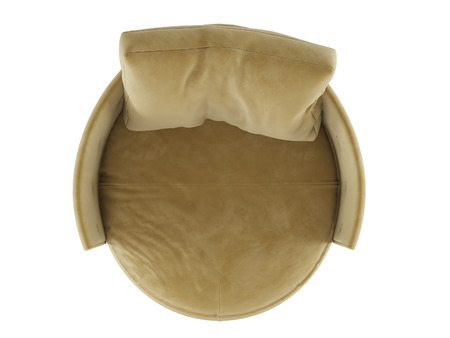 Soft round chair with a pillow top view 3d rendering