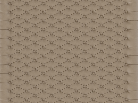 Panel wall beige capitone on a white background 3d rendering Stock Photo