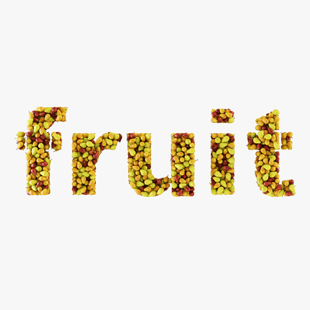 The word fruit is written from pears on a white background 3d rendering