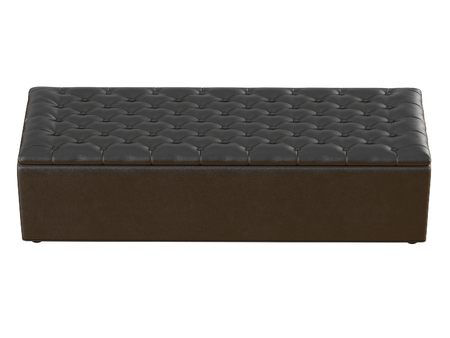 Bench black leather capitone on a white background 3d rendering