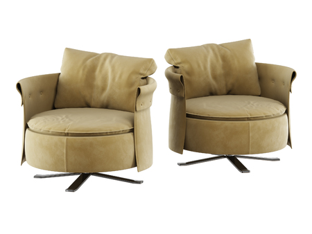 Two round soft armchair 3d rendering on white backgraund