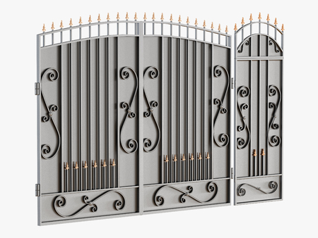 Black metal gates on a white background 3d rendering Archivio Fotografico