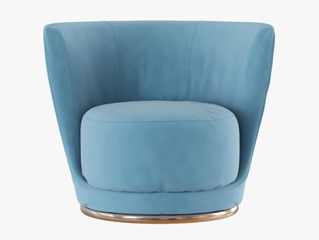 Blue armchair with a round seat frontal view on a white background 3d rendering