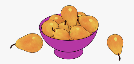 Pears in a violet vase on a white background 3d rendering Banque d'images - 116533649