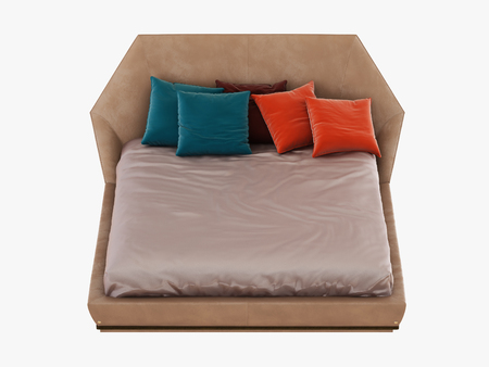 Bed with color pillows front view 3d rendering Stock Photo