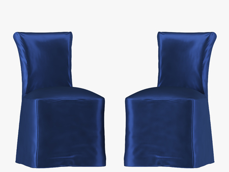 Blue chair cover fabric on white background 3d rendering Stock Photo