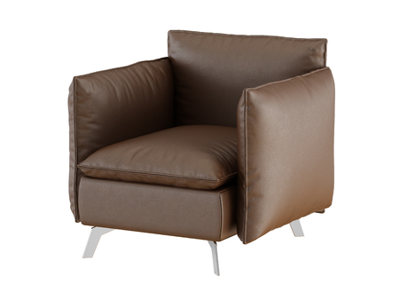 Soft brown armchair with iron legs on a white background