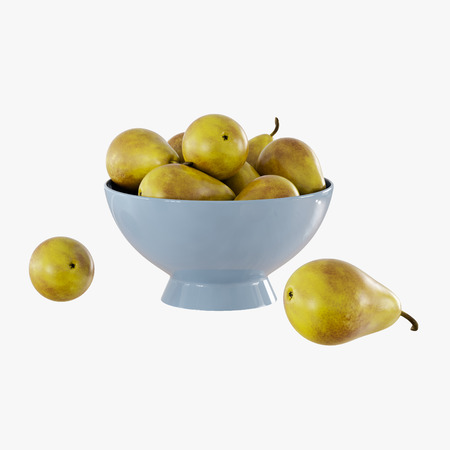 Pears in a light blue vase on a white background 3d rendering Banque d'images - 116534659