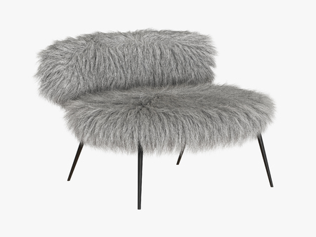 Armchair gray fur on white background 3d rendering 写真素材