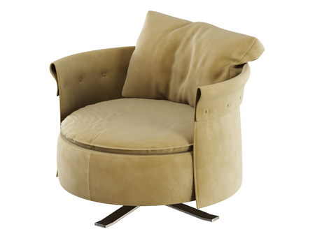 Soft round chair with pillow 3d rendering