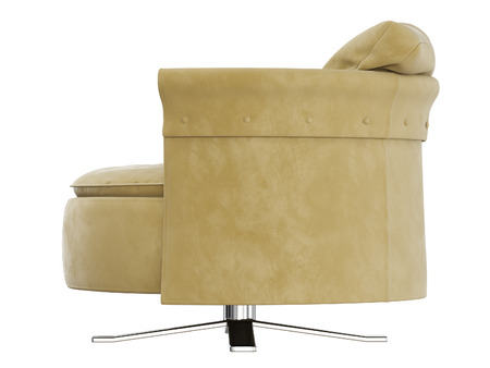 Soft round chair with cushion side view 3d rendering