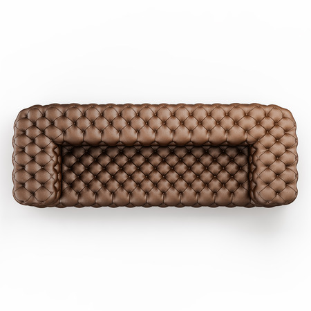 Leather sofa capitone on a white background top view 3d rendering Stock Photo